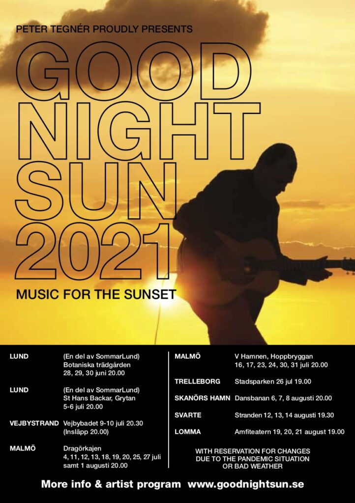 Goodnight Sun 2021 - silhouette of Peter Tegnér playing guitar in sunset